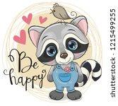 greeting card cute cartoon... | Shutterstock .eps vector #1215499255