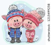 cute winter illustration with... | Shutterstock .eps vector #1215499258