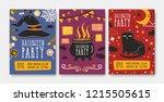 set of halloween party...   Shutterstock .eps vector #1215505615