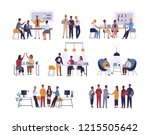 collection of scenes at office. ... | Shutterstock .eps vector #1215505642
