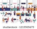 tiny people sitting at tables... | Shutterstock .eps vector #1215505675