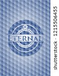 eternal blue emblem with... | Shutterstock .eps vector #1215506455