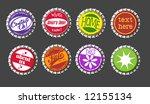 vector bottle cap buttons set 1 | Shutterstock .eps vector #12155134