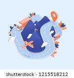 roadway  mountains  truck... | Shutterstock .eps vector #1215518212