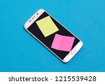 empty blank post it notes on a... | Shutterstock . vector #1215539428
