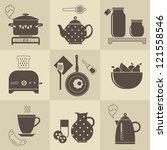 vector set of breakfast food... | Shutterstock .eps vector #121558546