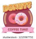 vector donut or doughnut icon... | Shutterstock .eps vector #1215587752