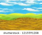 cartoon scene with meadow and... | Shutterstock . vector #1215591208