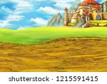 cartoon scene with some castle... | Shutterstock . vector #1215591415