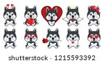 Stock vector dog alaskan malamute set of different little dogs with hearts grey puppies with different 1215593392
