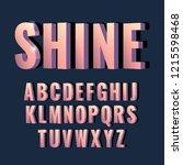 3d font alphabet. sanserif font.... | Shutterstock .eps vector #1215598468
