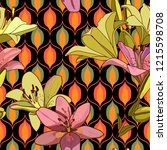 lilies on vintage seamless... | Shutterstock .eps vector #1215598708