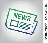 newspaper sign. vector. green... | Shutterstock .eps vector #1215600682