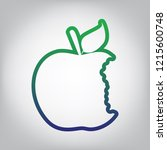 bited apple sign. vector. green ... | Shutterstock .eps vector #1215600748