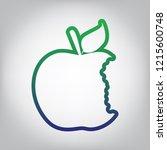 bited apple sign. vector. green ... | Shutterstock .eps vector #1215600748