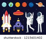 set of planets  space shuttles... | Shutterstock . vector #1215601402