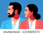 male and female close up...   Shutterstock .eps vector #1215605272