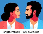 male and female close up... | Shutterstock .eps vector #1215605305