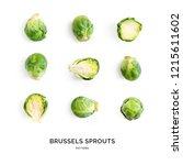 Small photo of Seamless pattern with brussels cabbage. Abstract background. Brussels cabbage on the white background.