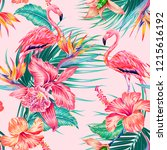 floral seamless vector tropical ... | Shutterstock .eps vector #1215616192