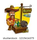 cartoon mexican in sombrero... | Shutterstock .eps vector #1215616375