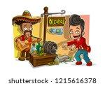 cartoon mexican in sombrero... | Shutterstock .eps vector #1215616378