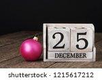 block calendar date 25 and... | Shutterstock . vector #1215617212
