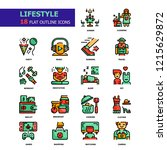 lifestyle flat outline icons... | Shutterstock .eps vector #1215629872