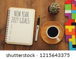 top view 2019 goals list with... | Shutterstock . vector #1215643375