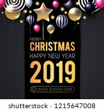 happy new 2019 year  shining... | Shutterstock .eps vector #1215647008