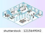 isometric flat 3d abstract... | Shutterstock .eps vector #1215649042