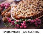 gingerbread tart with apples...   Shutterstock . vector #1215664282
