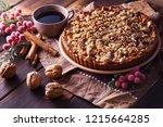 gingerbread tart with apples...   Shutterstock . vector #1215664285