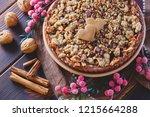 gingerbread tart with apples...   Shutterstock . vector #1215664288