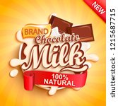 chocolate milk label splash on... | Shutterstock .eps vector #1215687715