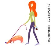 female person picked up the dog'... | Shutterstock .eps vector #1215692542