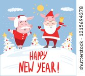 funny happy new year 2019 card... | Shutterstock .eps vector #1215694378