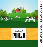 vector milk illustration with... | Shutterstock .eps vector #1215707185