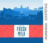 vector milk illustration with... | Shutterstock .eps vector #1215707212