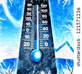 cold winter thermometer blue illustration - stock photo