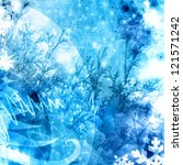 cold xmas winter texture background blue illustration - stock photo