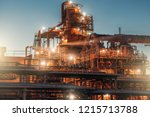 oil refinery factory in night ... | Shutterstock . vector #1215713788