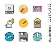 disk icon set. vector set about ... | Shutterstock .eps vector #1215714922