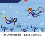 floating sea garbage with scuba ... | Shutterstock .eps vector #1215725488