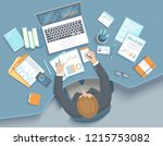 man working in office at the... | Shutterstock .eps vector #1215753082