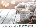 christmas cocoa concept with...   Shutterstock . vector #1215753652