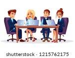 cartoon business people... | Shutterstock . vector #1215762175