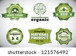 eco bio natural logos with... | Shutterstock .eps vector #121576492