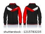 hoodie shirts template.jacket... | Shutterstock .eps vector #1215783235