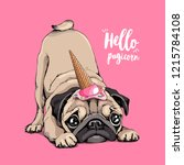 adorable beige puppy pug in a... | Shutterstock .eps vector #1215784108